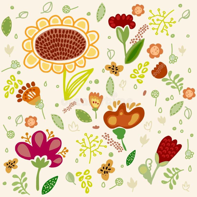 Цветок вектора установленный с солнцецветом бесплатная иллюстрация