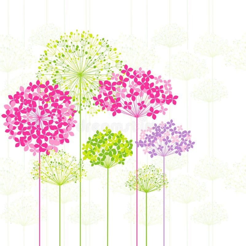 Цветок весеннего времени цветастый на предпосылке одуванчика иллюстрация штока