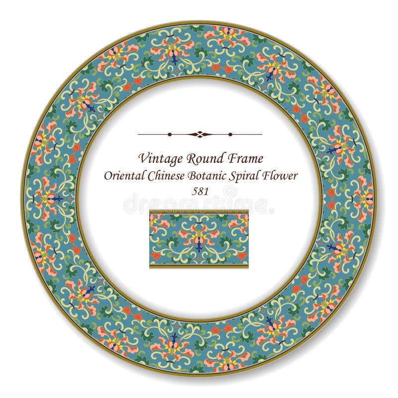 Цветок винтажной круглой ретро рамки восточный китайский ботанический спиральный иллюстрация штока