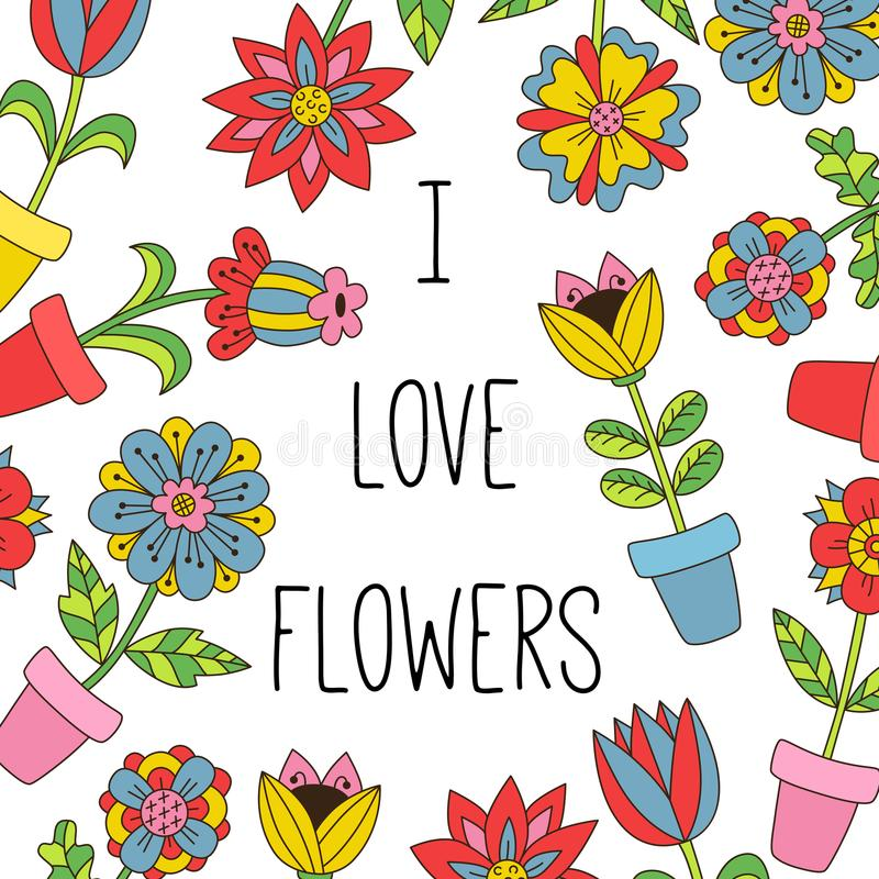 Цветок в шаблоне знамени doodle баков бесплатная иллюстрация