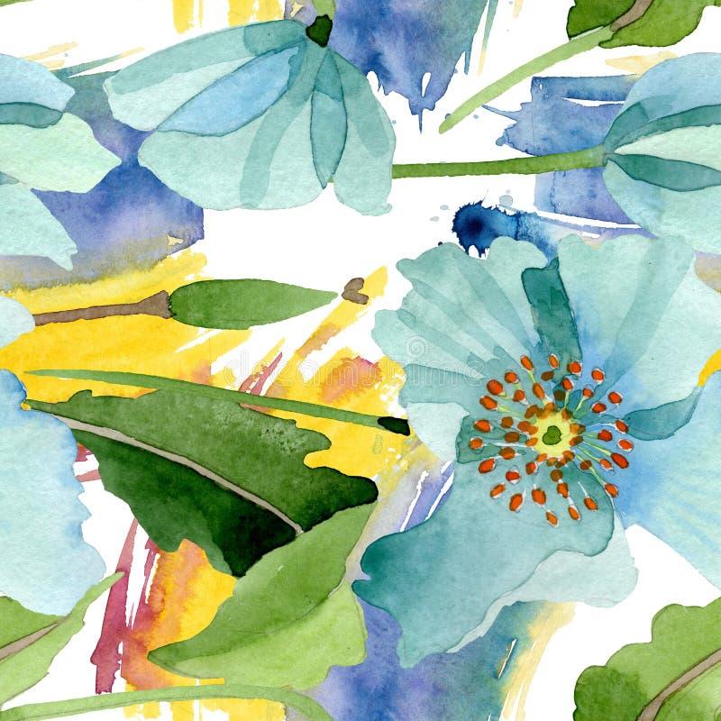 Цветок голубого мака флористический ботанический Набор иллюстрации предпосылки акварели Безшовная картина предпосылки иллюстрация штока
