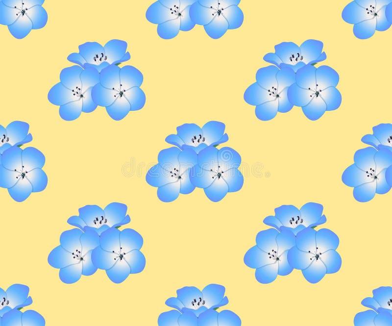 Цветок голубых глазов младенца Nemophila на желтой предпосылке также вектор иллюстрации притяжки corel бесплатная иллюстрация
