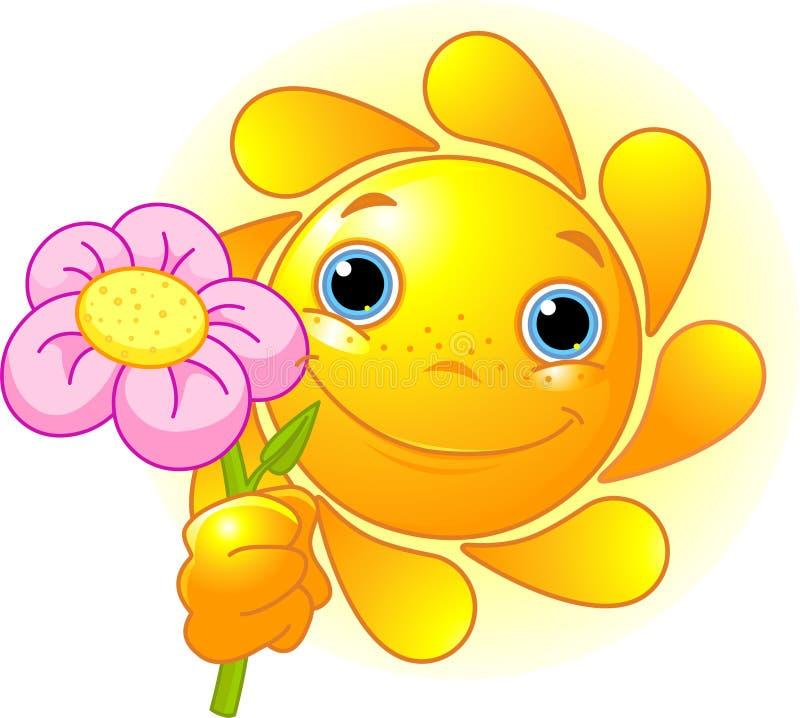 цветок давая солнце иллюстрация вектора