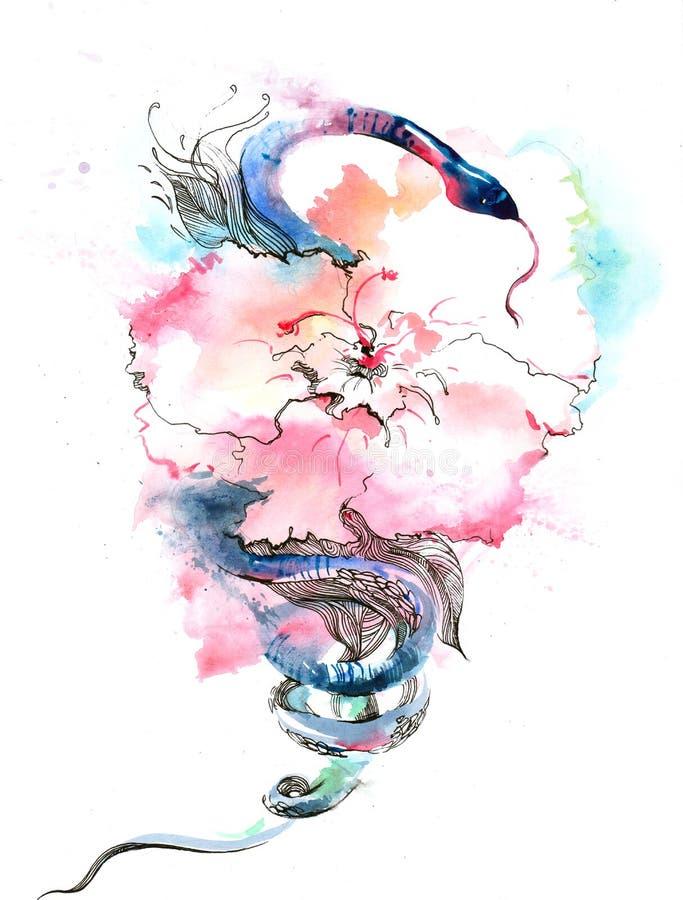 Цветок и змейка иллюстрация штока