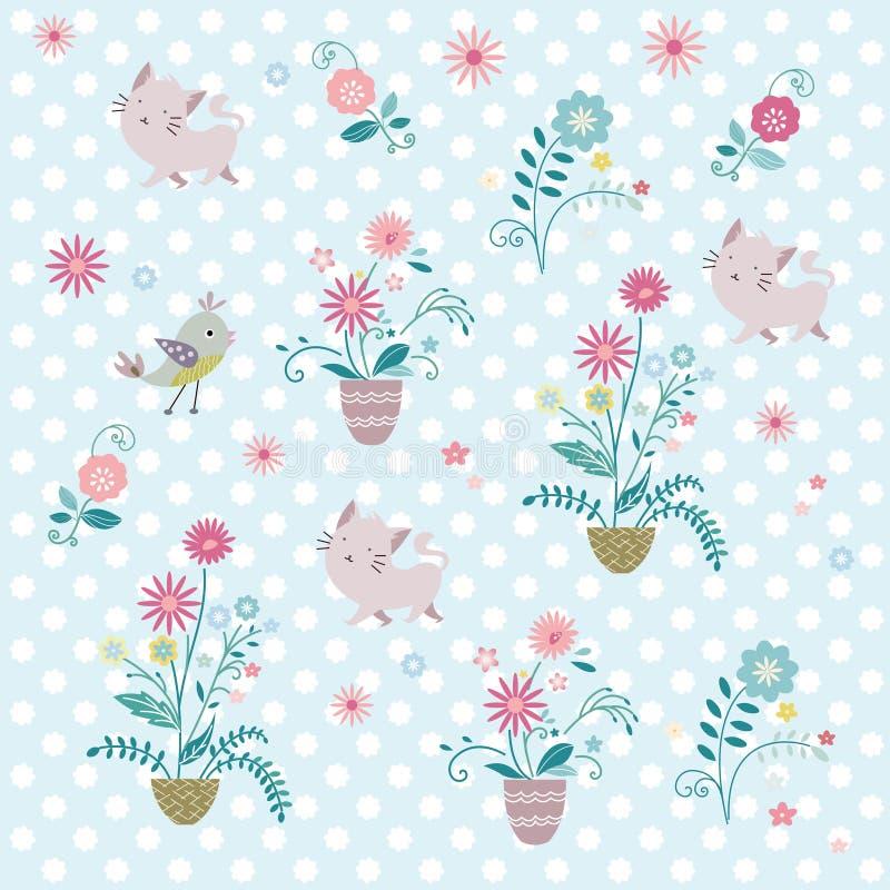 Цветок и кот иллюстрация вектора