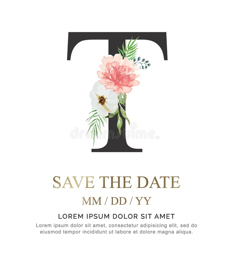Цветок и лист акварели краски руки письма t для wedding и приглашают карточки стоковое фото
