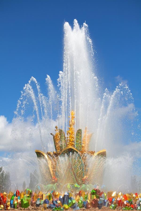 Цветок камня фонтана, выставка достижений народного хозяйства VDNKh в Москве, России стоковое фото rf