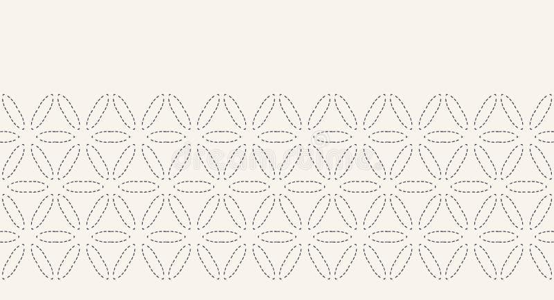 Цветок картины границы вышивки стежком хода жизни Предпосылка вектора простого needlework безшовная o иллюстрация вектора