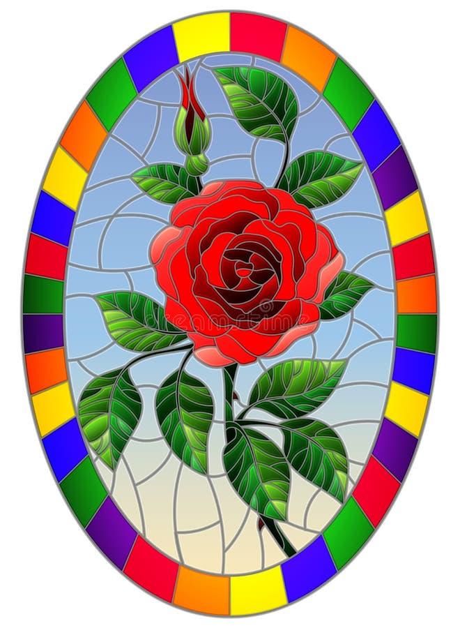 Цветок красной розы на голубой предпосылке в яркой рамке, овальное изображение иллюстрации цветного стекла иллюстрация штока