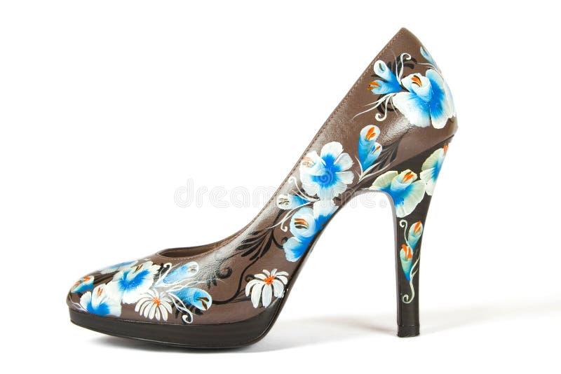 цветок кренит высокие напечатанные ботинки стоковое изображение