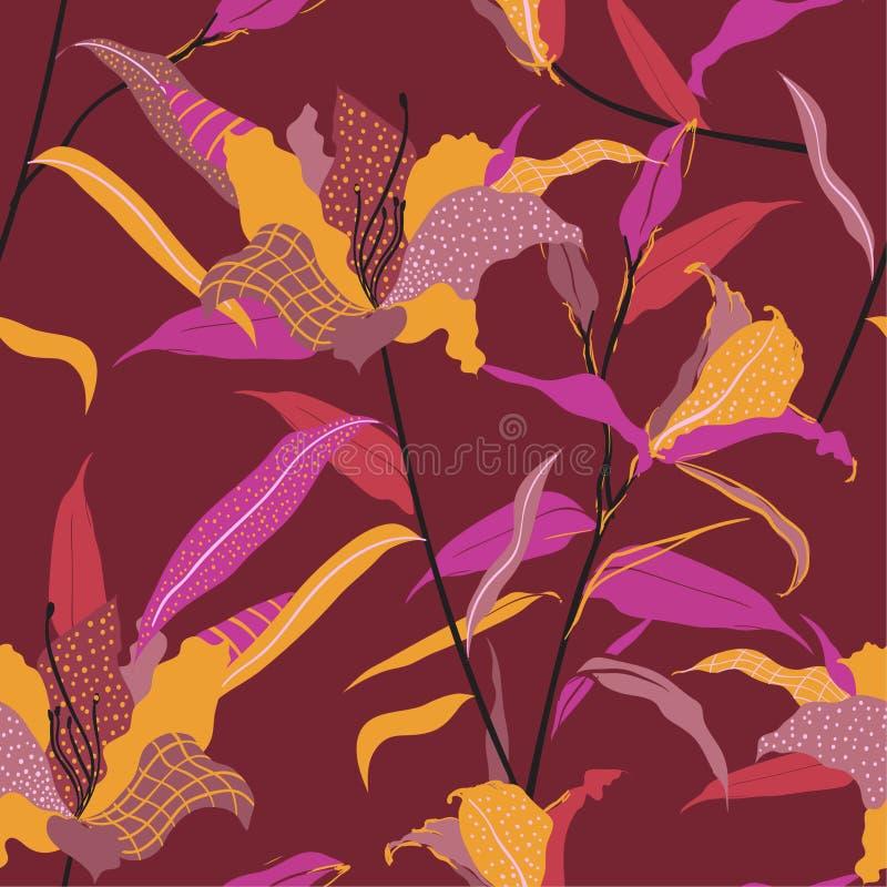 Цветок лилии безшовной руки вектора картины вычерченный заполняет внутри с эскизом точек линии и польки, дизайном для ткани моды  иллюстрация вектора