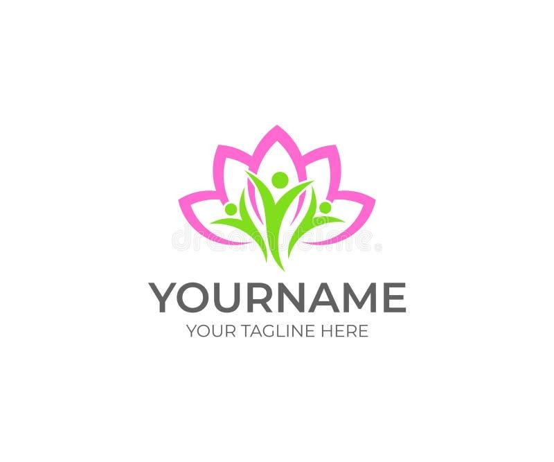 Цветок лотоса и счастливый шаблон логотипа людей Дизайн вектора салона курорта красоты иллюстрация вектора
