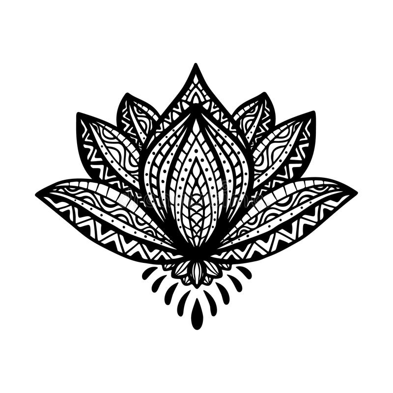 Цветок лотоса Zentangle в орнаментальном этническом стиле Вручите вычерченный элегантный лотос моды, детальный стилизованный черн бесплатная иллюстрация