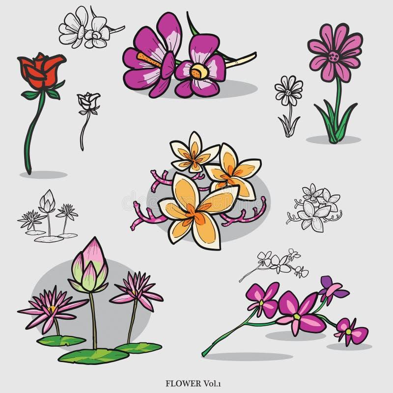 Цветок & лотос & линия искусство & чертеж бесплатная иллюстрация