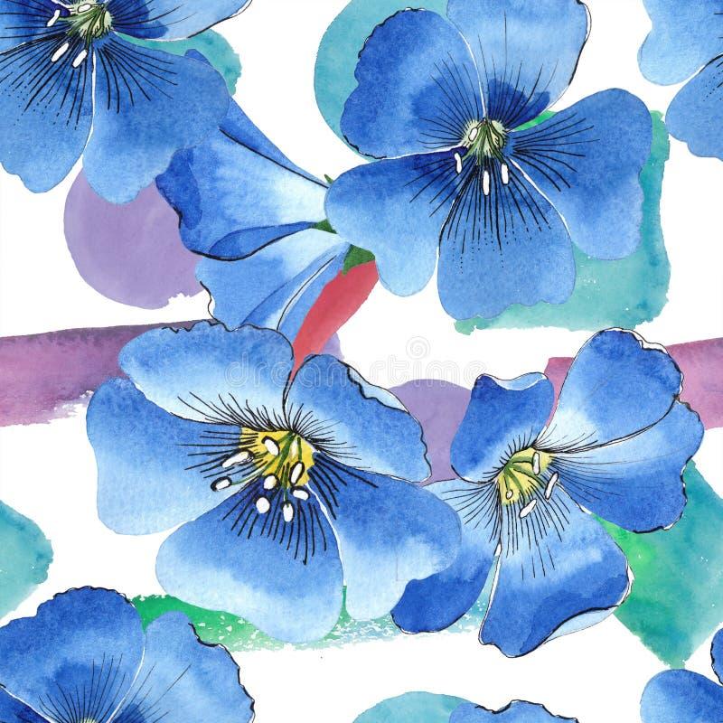 Цветок льна акварели голубой Флористический ботанический цветок Безшовная картина предпосылки иллюстрация штока