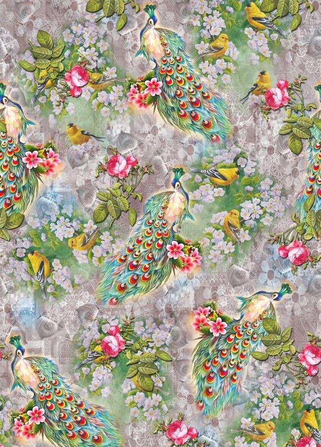 Цветок на всем картина цвета отображает павлин цифровых красочных графиков милый иллюстрация вектора
