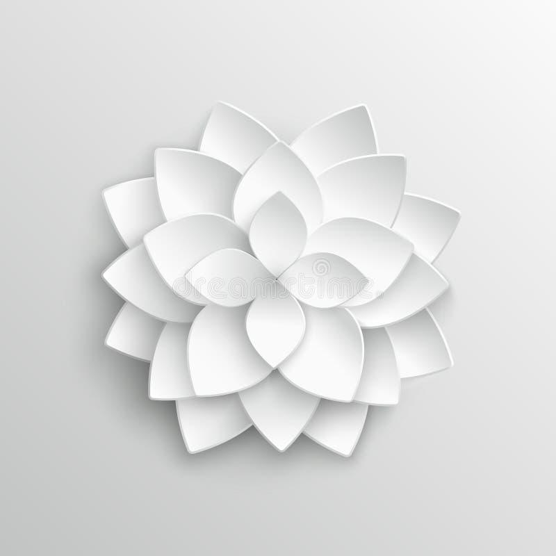 Цветок лотоса белой бумаги 3d в иллюстрации вектора стиля origami иллюстрация штока