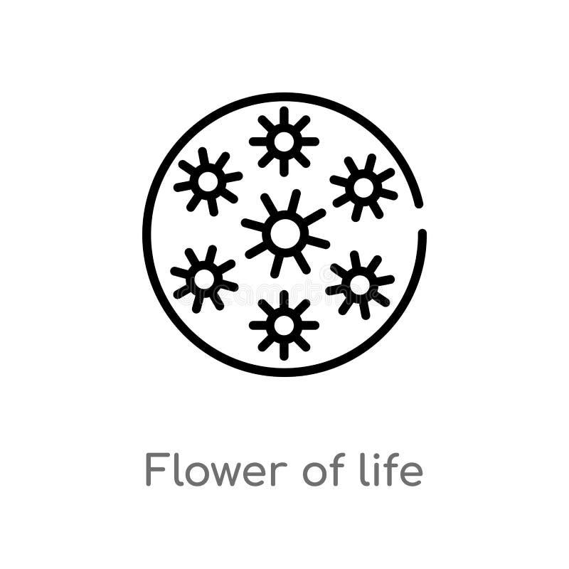 цветок плана значка вектора жизни изолированная черная простая линия иллюстрация элемента от форм и концепции символов editable иллюстрация штока