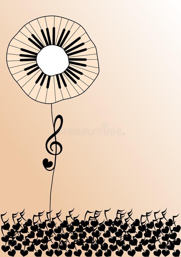 цветок пользуется ключом рояль иллюстрация штока