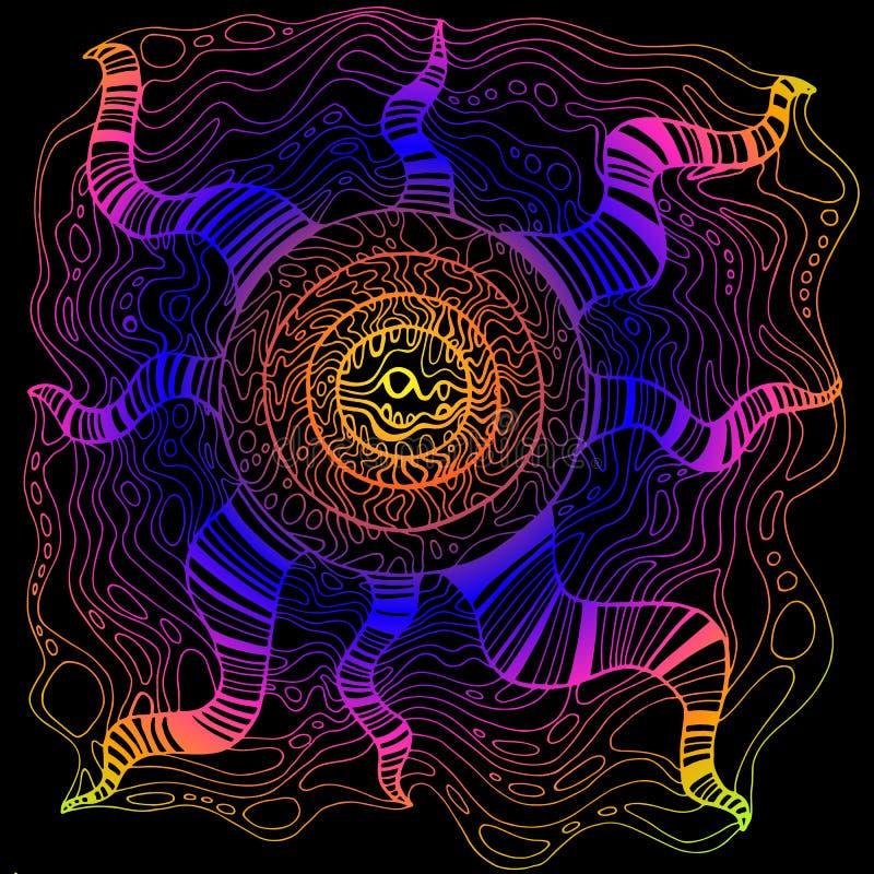 Цветок психоделической фантазии декоративный сюрреалистический, яркий цвет градиента в черной предпосылке Doodle тип Рука вектора иллюстрация штока