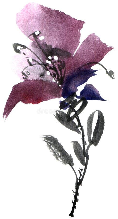 Цветок пурпура акварели иллюстрация штока