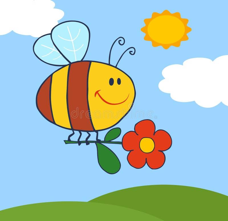 цветок пчелы летая счастливое небо иллюстрация вектора