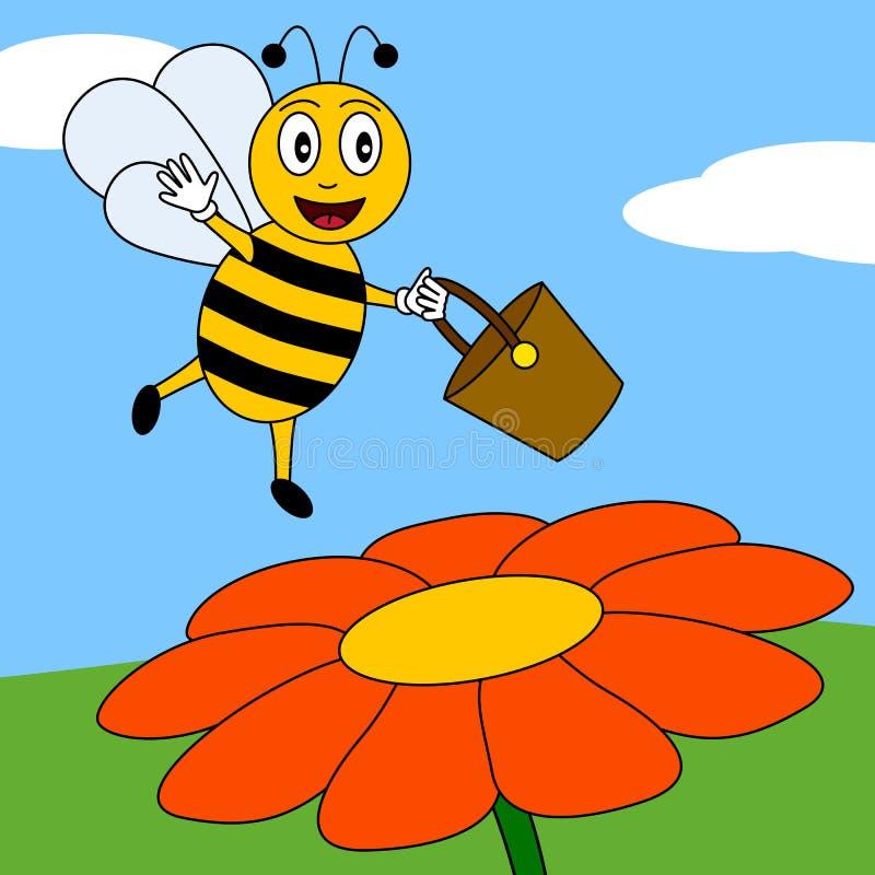 цветок пчелы счастливый иллюстрация вектора