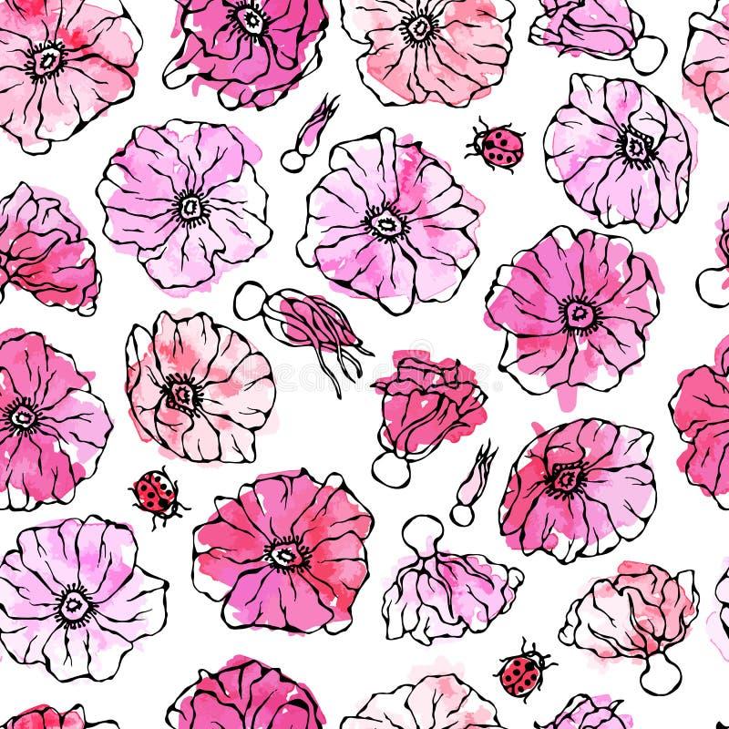 Цветок розового пинка безшовной акварели картины одичалый Собака Роза, лист Briar Ботаническая картина Реалистической иллюстрация бесплатная иллюстрация
