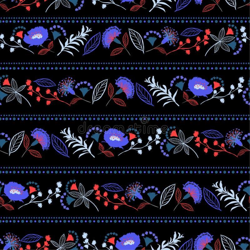 Цветок свободы в горизонтальной линии безшовной картине нашивки, contr иллюстрация вектора