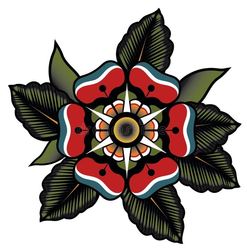 Цветок татуировки в абстрактной форме иллюстрация вектора