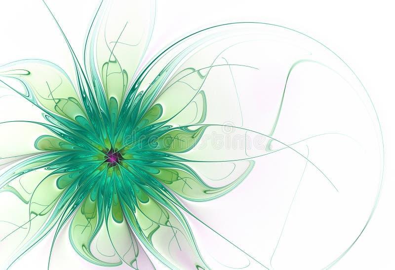 Цветок фрактали в зеленых и желтых тонах иллюстрация вектора