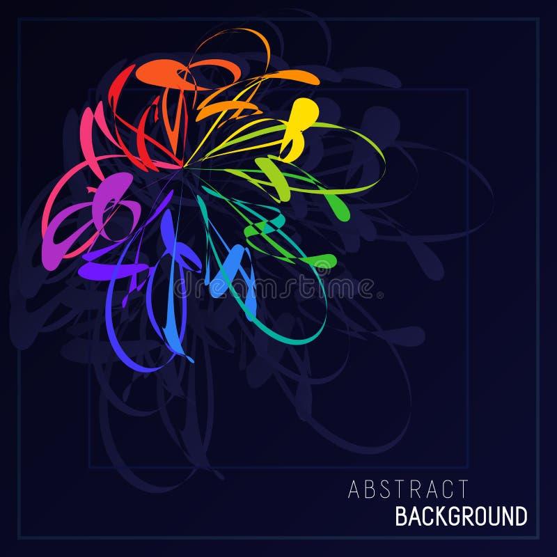 Цветок яркого абстрактного Stylization красочный в синем Backgro бесплатная иллюстрация