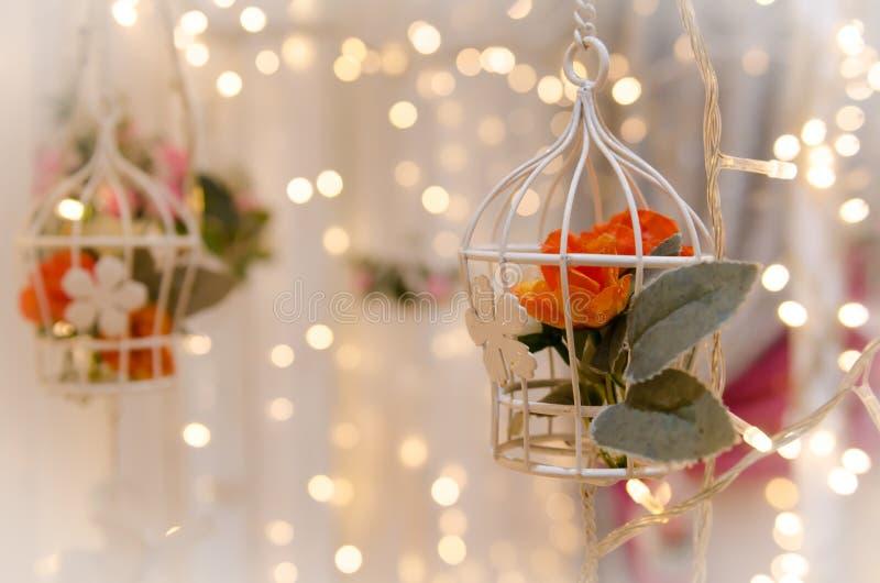 Цветок Birdcage для wedding украшения стоковая фотография rf