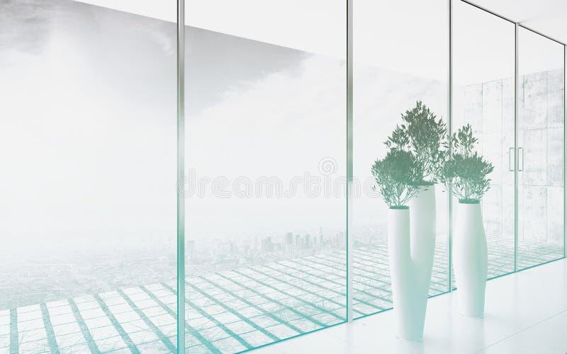Цветочные горшки дизайна против огромного окна стоковые фотографии rf