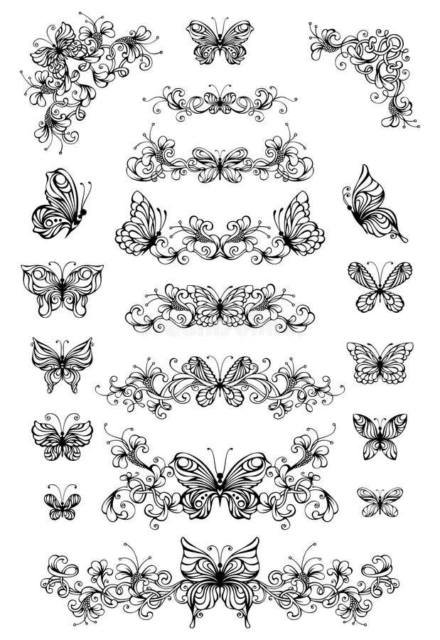 Цветочные узоры вектора с бабочками иллюстрация вектора