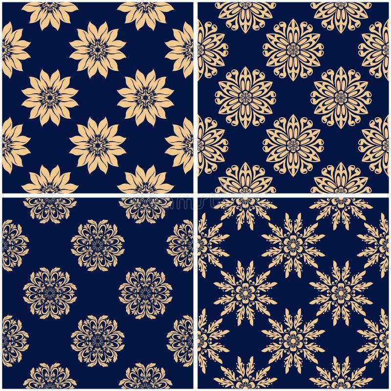 Цветочные узоры Комплект золотых голубых безшовных предпосылок иллюстрация вектора