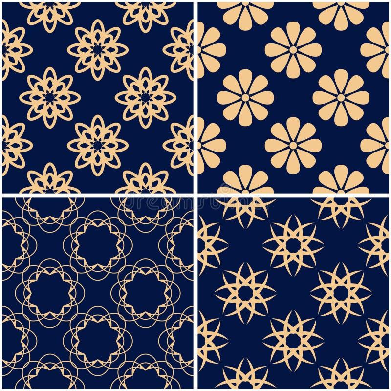 Цветочные узоры Комплект золотых голубых безшовных предпосылок бесплатная иллюстрация