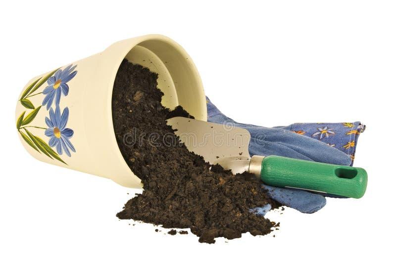 Цветочный горшок и грязь стоковое фото rf