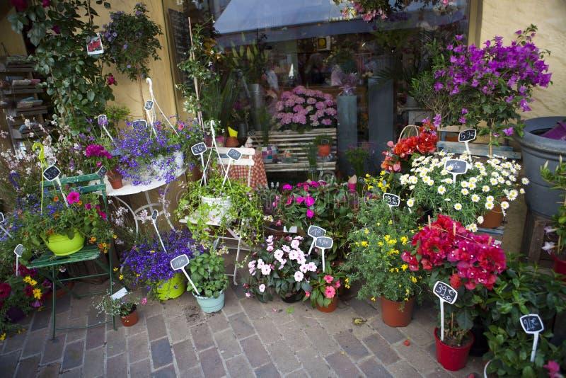 Цветочный магазин в улице, Провансаль, Франция стоковые изображения rf