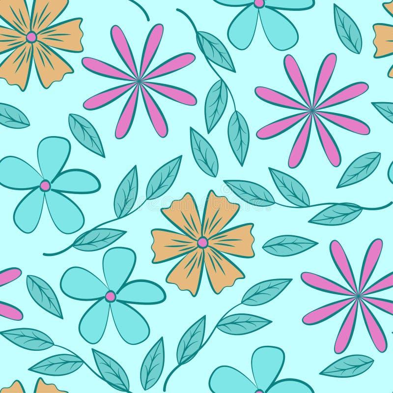 Цветочный узор абстрактных плоских цветков на голубой предпосылке Безшовная картина вектора иллюстрация штока