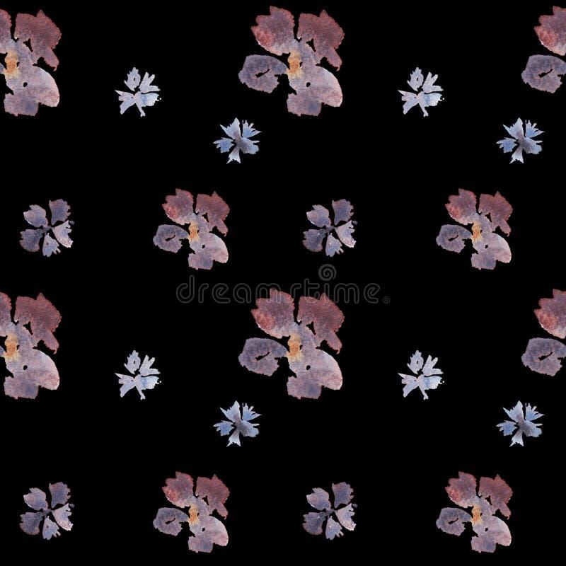 Цветочный узор акварели безшовной руки вычерченный на черной предпосылке иллюстрация штока