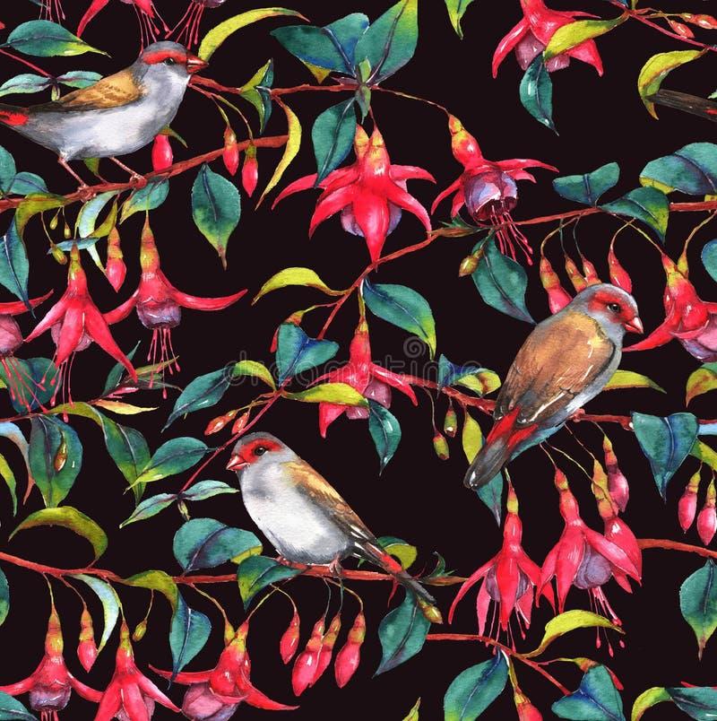 Цветочный узор акварели безшовный бесплатная иллюстрация