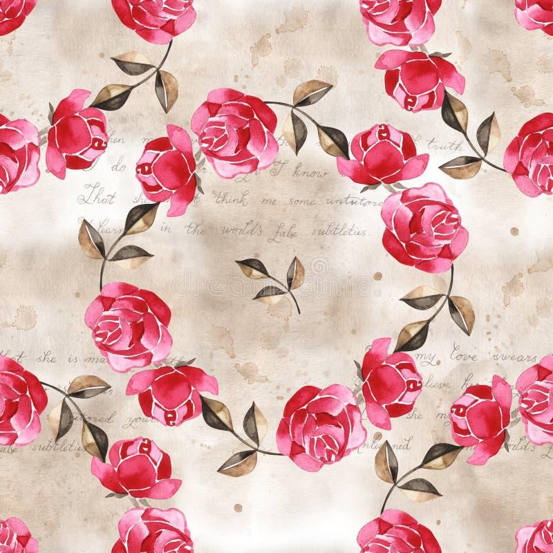 Цветочный узор акварели с нежно розовыми английскими цветками розы и весны Винтажная безшовная картина иллюстрация штока