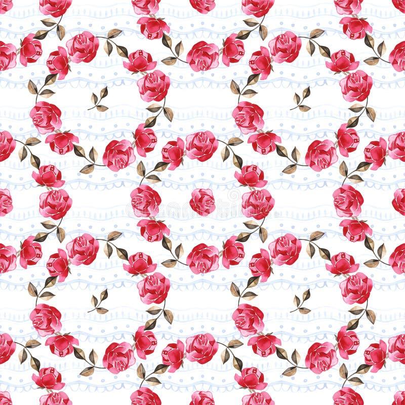 Цветочный узор акварели с нежно розовыми английскими цветками розы и весны Винтажная безшовная картина стоковые изображения rf