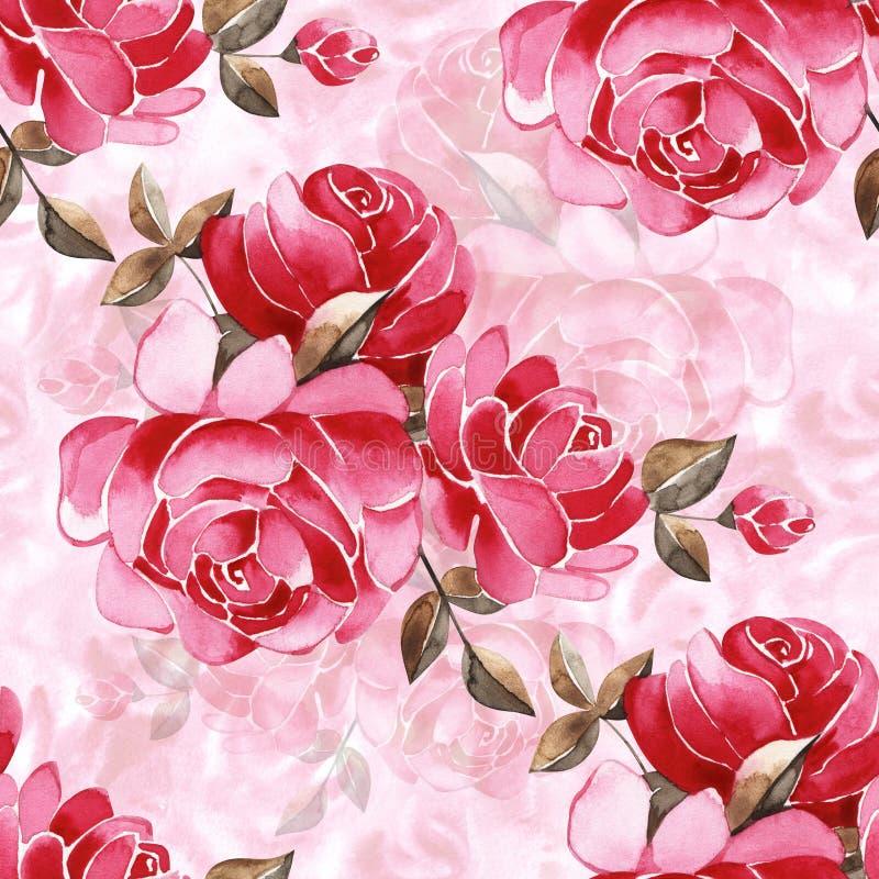 Цветочный узор акварели с нежно розовыми английскими цветками розы и весны Винтажная безшовная картина стоковая фотография
