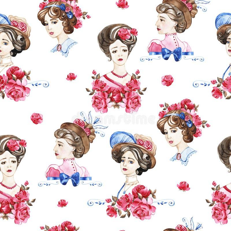 Цветочный узор акварели с нежно розовыми английскими цветками розы и весны Винтажная безшовная картина стоковая фотография rf