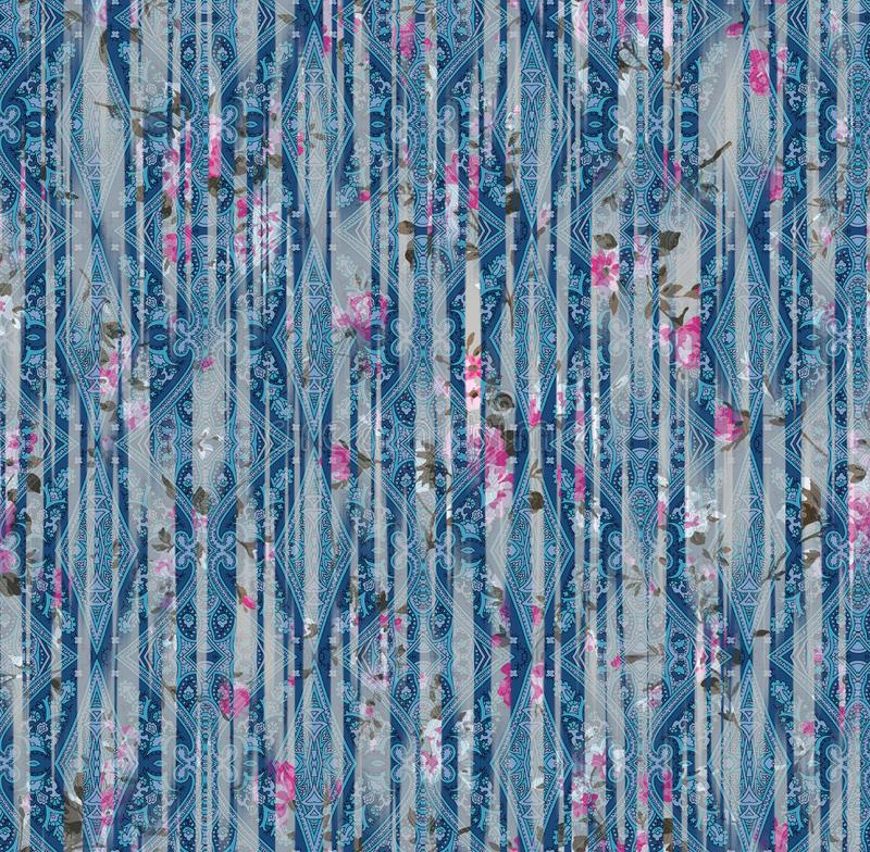 Цветочный узор акварели этнической безшовной картины картины Пейсли цифровой стоковая фотография