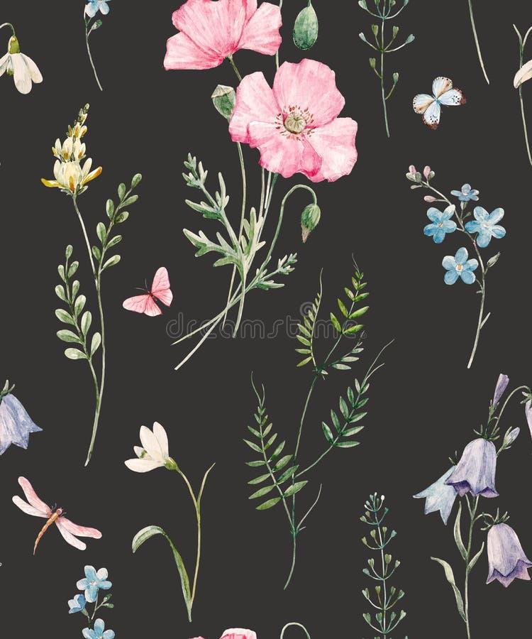Цветочный узор акварели иллюстрация штока