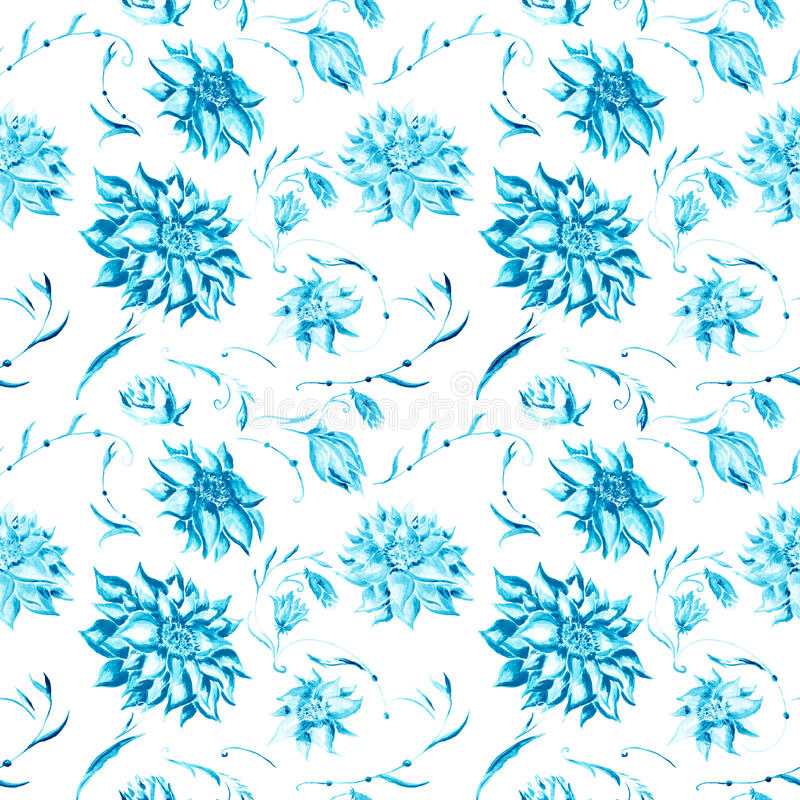 Цветочный узор акварели бирюзы иллюстрация штока