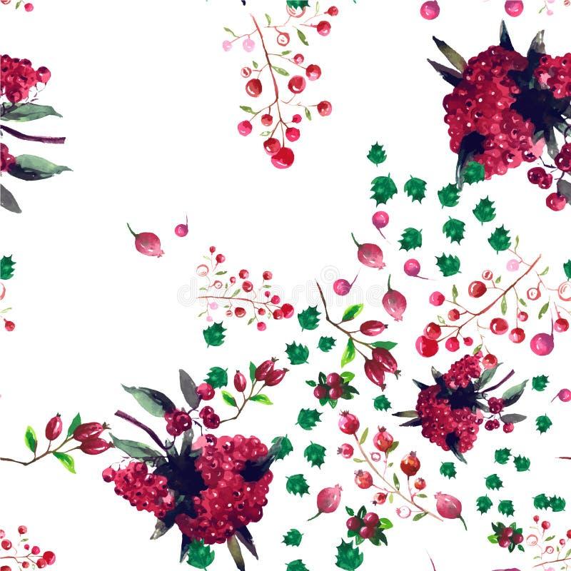 Цветочный узор акварели вектора безшовный иллюстрация штока